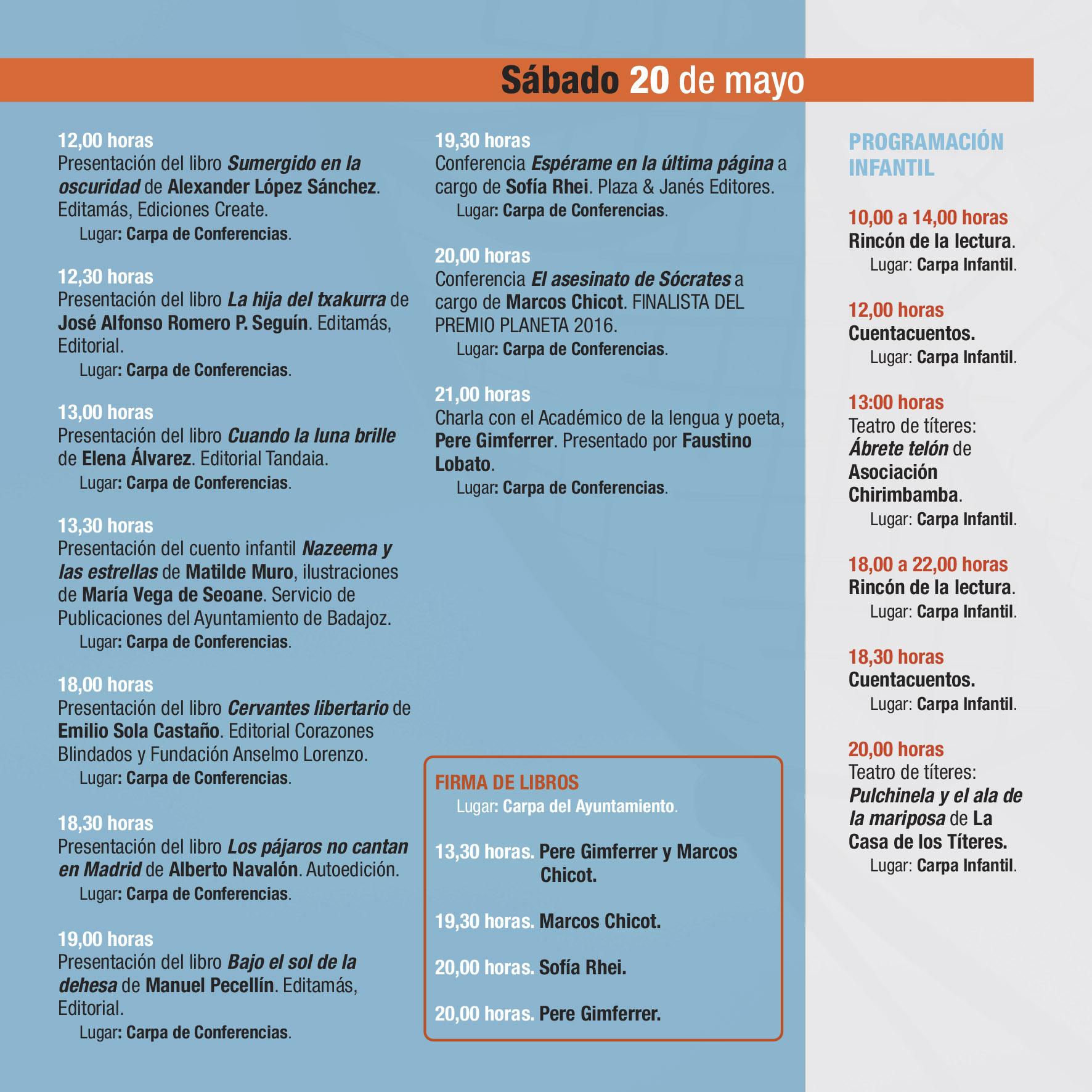 PROGRAMA 36 FERIA DEL LIBRO