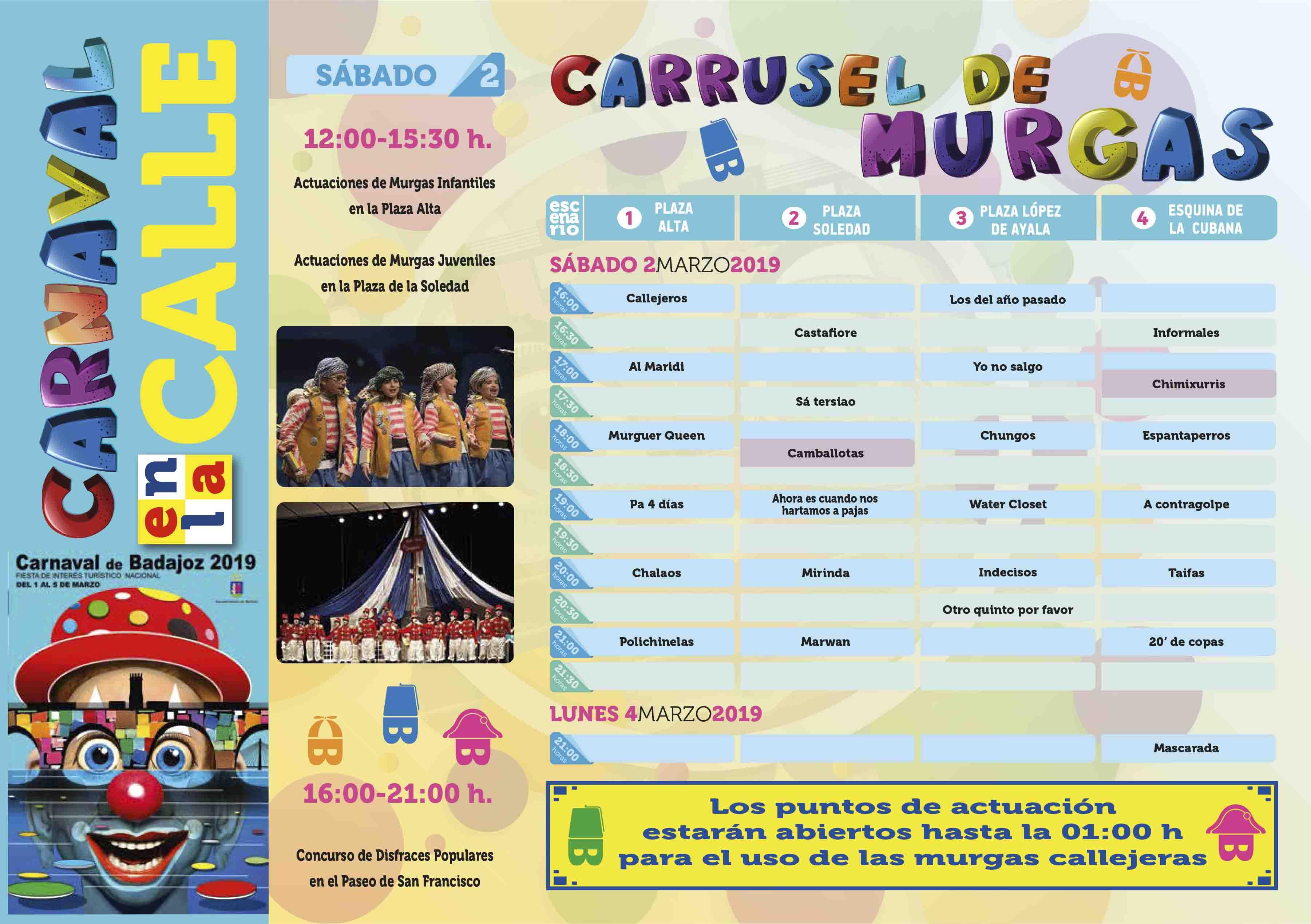 desplegable carnaval de badajoz2019